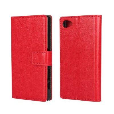 Plånboksfodral till Sony Xperia Z5 Compact Röd Crazy Horse