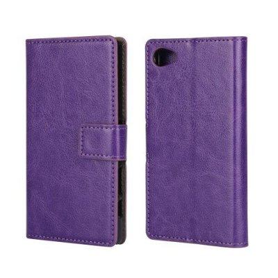 Plånboksfodral till Sony Xperia Z5 Compact Lila Crazy Horse