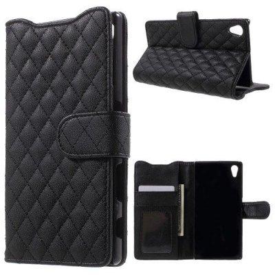 Plånboksfodral till Sony Xperia Z5 Quiltmönster Svart
