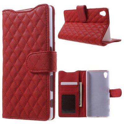 Plånboksfodral till Sony Xperia Z5 Quiltmönster Röd