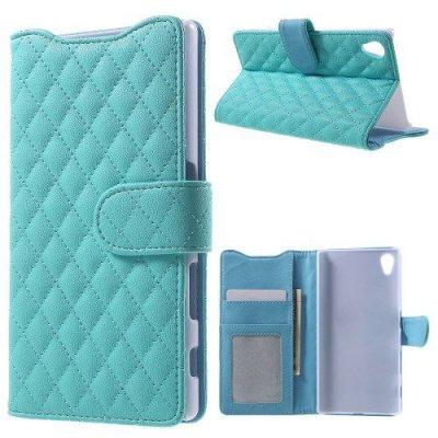 Plånboksfodral till Sony Xperia Z5 Quiltmönster Ljusblå