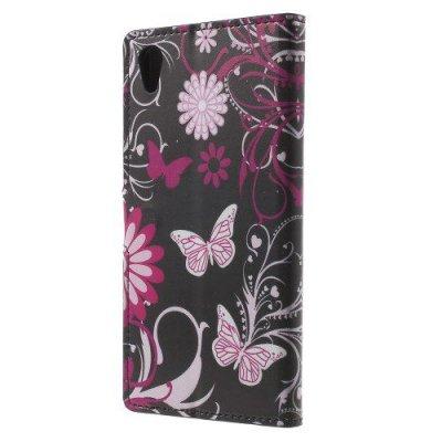 Plånboksfodral till Sony Xperia Z5 Fjärilar och blommor