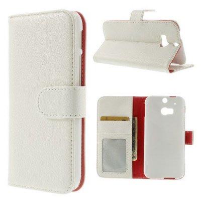 Plånboksfodral till HTC One M8 Litchi Vit
