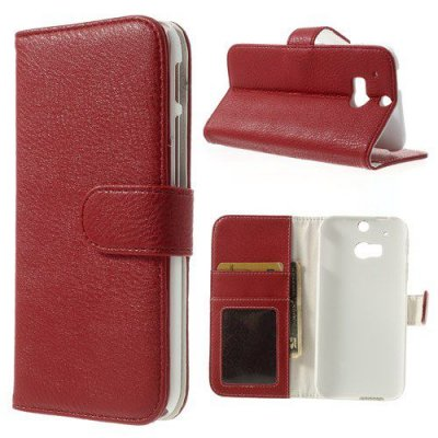 Plånboksfodral till HTC One M8 Litchi Röd