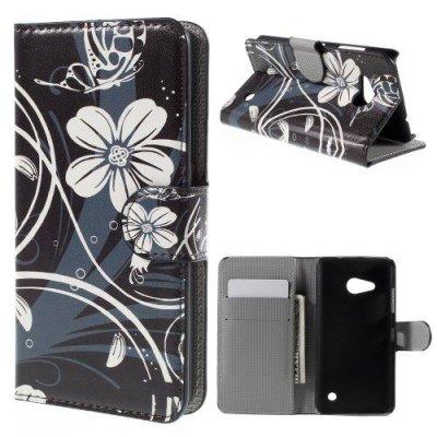 Plånboksfodral till Microsoft Lumia 550 - Motiv vita blommor