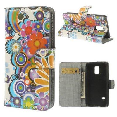 Plånboksfodral till Samsung Galaxy S5 Mini - Motiv flower power
