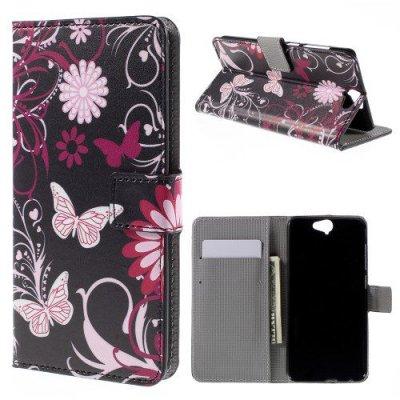 Plånboksfodral till HTC One A9 Fjärilar och blommor