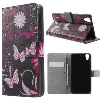 Plånboksfodral till HTC Desire 626 Fjärilar och blommor