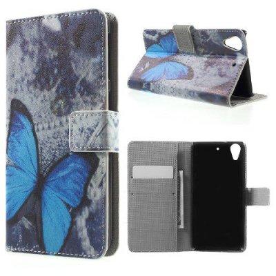 Plånboksfodral till HTC Desire 626 - Motiv Blue Butterfly