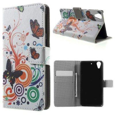 Plånboksfodral till HTC Desire 626 - Motiv fjärilar och cirklar
