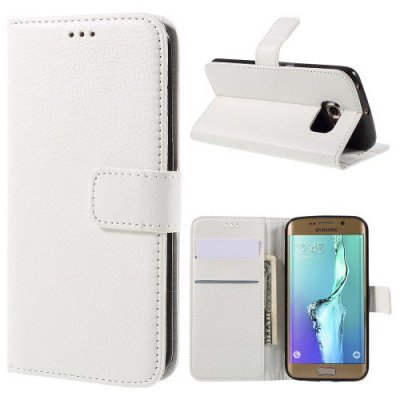 Vit Plånboksfodral Litchi till Samsung Galaxy S6 Edge