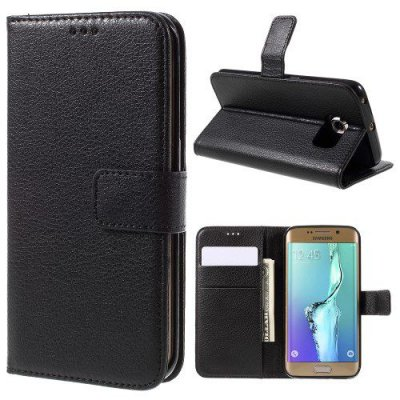 Svart Plånboksfodral Litchi till Samsung Galaxy S6 Edge