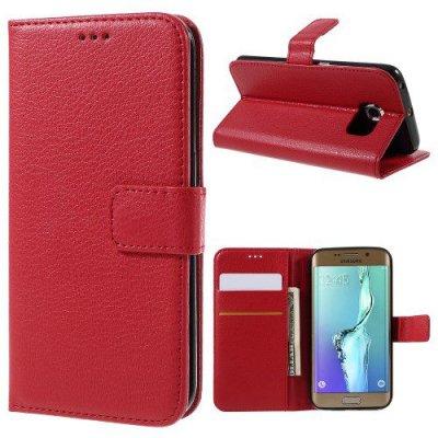 Röd Plånboksfodral Litchi till Samsung Galaxy S6 Edge