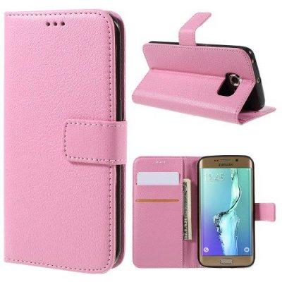 Rosa Plånboksfodral Litchi till Samsung Galaxy S6 Edge