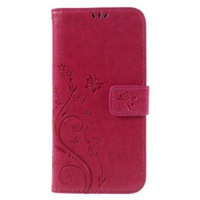 Mobilfodral till Samsung Galaxy S7 EDGE röd - Fjärilar