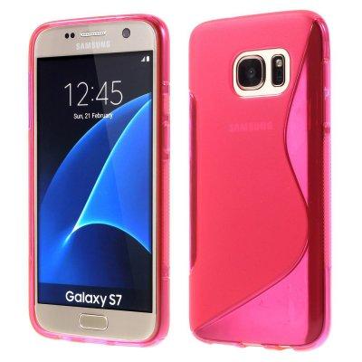 Flexibelt S-Design Skal till Samsung Galaxy S7 - Rödrosa