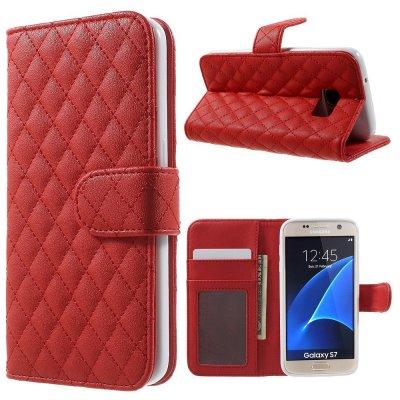 Mobilfodral röd till Samsung Galaxy S7 - Quiltmönster