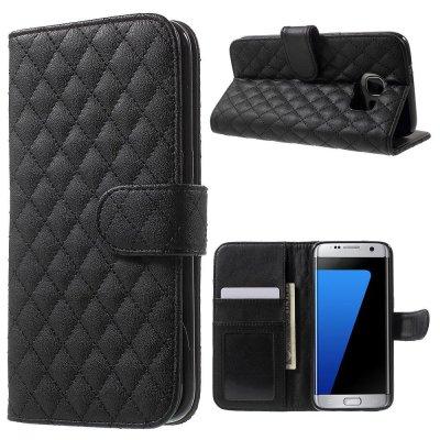 Mobilfodral svart till Samsung Galaxy S7 Edge - Quiltmönster