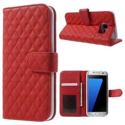 Mobilfodral röd till Samsung Galaxy S7 Edge - Quiltmönster