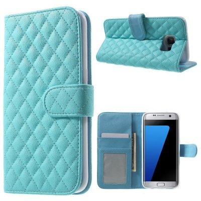Mobilfodral blå till Samsung Galaxy S7 Edge - Quiltmönster