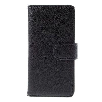 Plånboksfodral till Huawei P8 Lite - Svart litchi