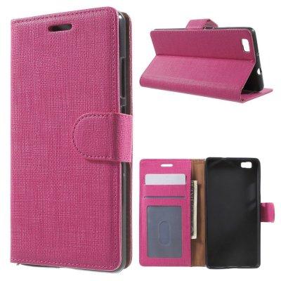 Plånboksfodral till Huawei P8 Lite - Rödrosa texturerad yta