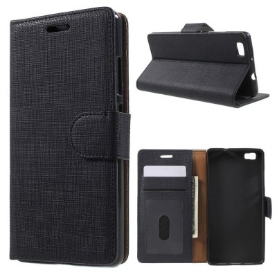 Plånboksfodral till Huawei P8 Lite - Svart texturerad yta
