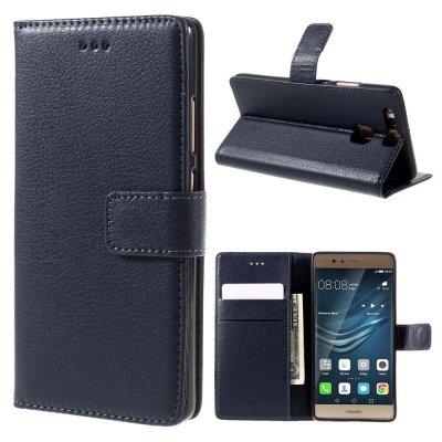 Mobilfodral Plånbok till Huawei P9 - Mörkblå litchi