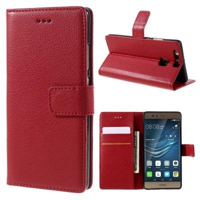 Mobilfodral Plånbok till Huawei P9 - Röd litchi