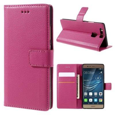 Mobilfodral Plånbok till Huawei P9 - Rödrosa litchi