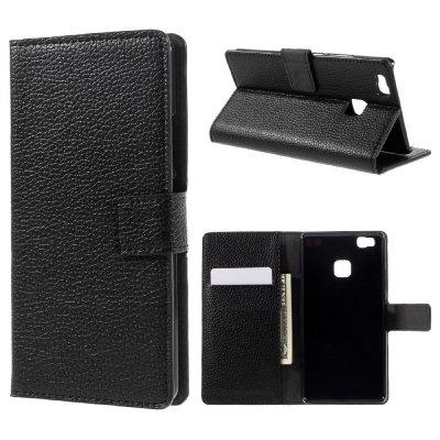 Plånboksfodral till Huawei P9 Lite - Svart litchi