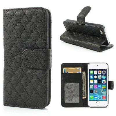 Mobilfodral Svart till iPhone 5/5S/SE - Quiltmönster