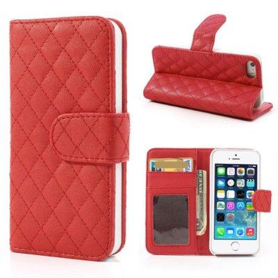 Mobilfodral Röd till iPhone 5/5S/SE - Quiltmönster