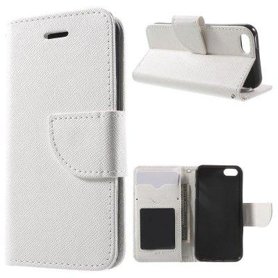 Plånboksfodral Vit till iPhone 5/5S/SE - Cross Texture