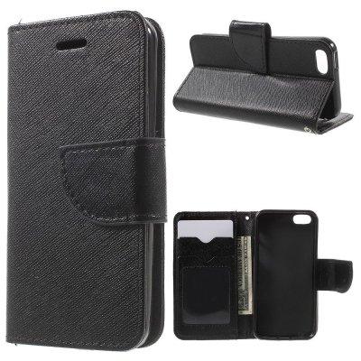 Plånboksfodral Svart till iPhone 5/5S/SE - Cross Texture