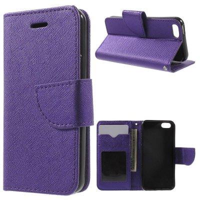 Plånboksfodral Lila till iPhone 5/5S/SE - Cross Texture