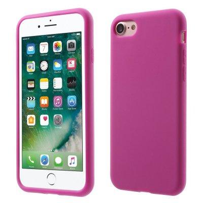 Silikonskal till iPhone 7 - Rödrosa Mjukt & flexibelt skydd