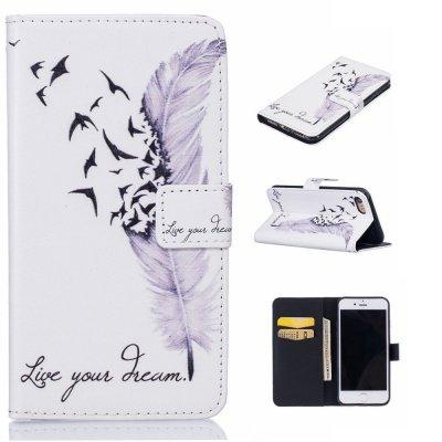 Plånboksfodral till iPhone 7 4,7tum - Fåglar och fjädrar Vit