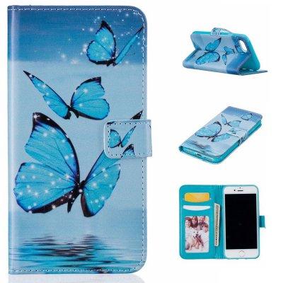 Plånboksfodral till iPhone 7 4,7tum - Motiv blåa fjärilar