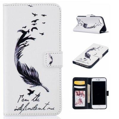 Plånboksfodral till iPhone 7 4,7tum - Motiv fjäder, fåglar och text
