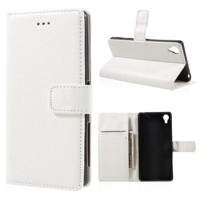 Plånboksfodral till Sony Xperia X - Litchi textur vit