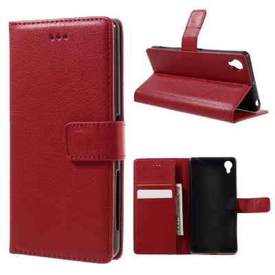 Plånboksfodral till Sony Xperia X - Litchi textur röd