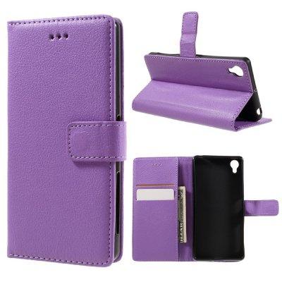 Plånboksfodral till Sony Xperia X - Litchi textur lila