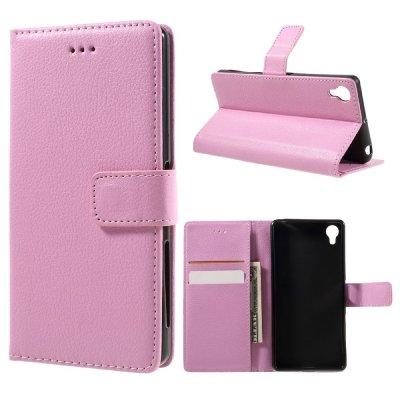 Plånboksfodral till Sony Xperia X - Litchi textur rosa