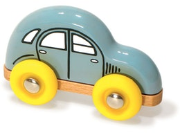 Liten blå bil i målat trä, Vilac