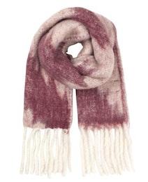 Blurry Hairy Scarf, halsduk i vitt och burgundyfärgat mönster