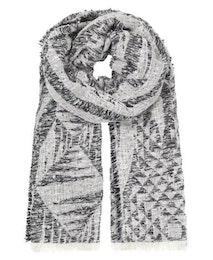 Graphic Melange Scarf, halsduk i svart och vitt