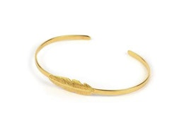 Feather Bangle Gold, armband, Syster P