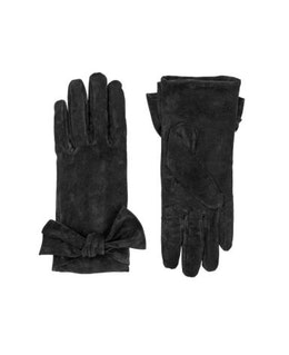 Svarta läderhandskar med rosett