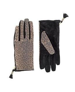 Handskar i svart- och leopardmönstrad mocka
